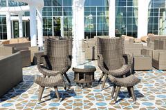 The recreation chairs on terrace at luxury hotel, antalya, turkey Stock Photos