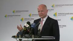 William Hague speaks to journalists Stock Footage