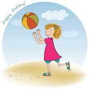 girl playing ball on the beach - stock illustration
