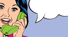 woman chatting on the phone, pop art illustration - stock illustration