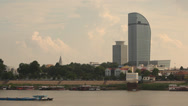 Stock Video Footage of Phnom Penh Skyline and Riverfront