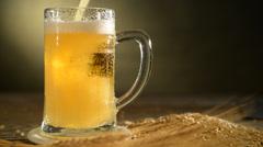 Pint of beer with barley, studio shooting, locked down, Stock Footage