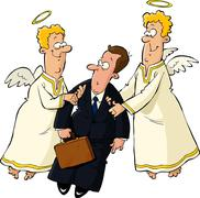 businessman and angels - stock illustration