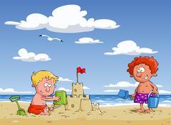children on the beach - stock illustration