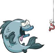 Fish and worm Stock Illustration