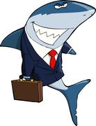 business shark - stock illustration