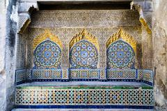 tiled and carved alcove in casbah, tangier - stock photo