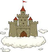 castle on a cloud - stock illustration