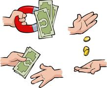 Hands with money Stock Illustration