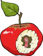 Worm-eaten apple Stock Illustration