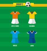 Stock Illustration of brazil soccer championship 2014 group c team