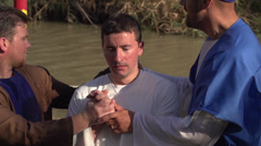 Baptism in Jordan River - stock footage