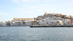 view of ibiza from ferry entering in harbour - stock footage