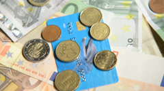 Euro Money, rotation,taken under studio light Stock Footage