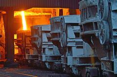 Steel buckets to transport the molten metal Stock Photos