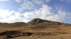 Driving on the road in the Tibetan Plateau of China Stock Footage