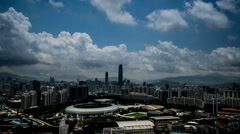 The panorama of Shenzhen viewed from park in Shenzhen,China Stock Footage
