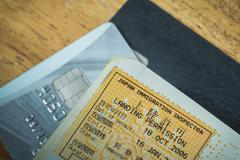 passport stamp visa of japan and credit card for travel concept - stock photo