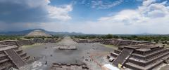 high angle view of an archaeological site, teotihuacan, mexico city, mexico - stock photo