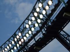 low angle view of floodlights in a stadium - stock photo