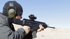 Military rifle shoot Stock Footage