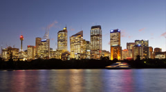 Sydney City view Dusk Hyperlapse Stock Footage