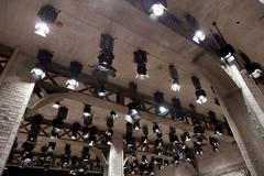 floodlights at a film studio - stock photo
