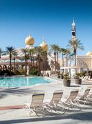 pool at a hotel, the sahara hotel and casino, las vegas strip, winchester, ne - stock photo