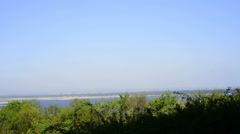 View of the green hill in Lubin to the Szczecin lagoon Stock Footage
