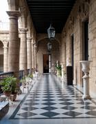 corridor of a government building, palacio de los capitanes generales, havana - stock photo