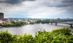 bridge across a river, alexandra bridge, ottawa river, gatineau, quebec, cana - stock photo