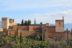 the alcazaba of the alhambra in granda, spain - stock photo