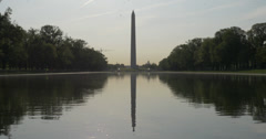 Washington Monument Reflection with birds 001 Stock Footage