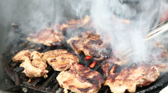 Steaks on barbecue grill Stock Footage