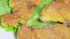 Fish roe on leaves of lettuce Stock Footage