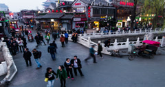4K-The visitors and traffic on Yinding Bridge in Houhai Bar Street at sunset Stock Footage