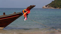 Thai boat near the beach. Island Koh Phangan , Thailand . Stock Footage