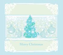 Abstract christmas tree with baubles card Stock Illustration