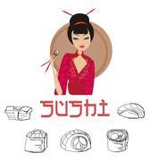 Stock Illustration of sushi with asian girl set