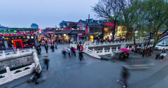4K-The visitors and traffic on Yinding Bridge located in the Houhai Bar Street Stock Footage