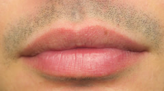 Male Mouth Lips Closeup Macro Body Part 4K UHD - stock footage