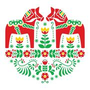 Swedish Dala or Daleclarian horse floral folk pattern Stock Illustration