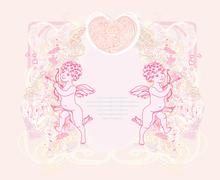 Stock Illustration of happy valentine's day card with cupid