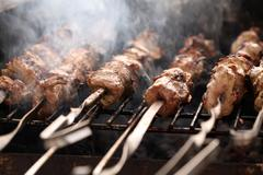 Fresh meat on a steel skewer in a brazier Stock Photos