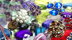 Crystals beads jewellery as fashion background Stock Footage