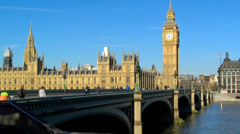 Westminster Bridge, Houses of Parliament. Stock Footage