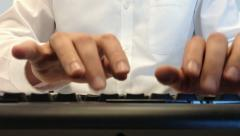 Office staff hands work on keyboard. Close up. Stock Footage