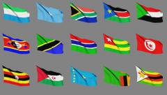 Flags Of Africa (part 4 of 4) Seamless Loop, Matte Channel Stock Footage