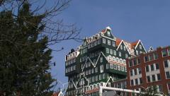 ZAANDAM pan Town Hall, Station building and hotel, built in traditional style Stock Footage