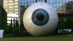 Giant Eyeball Sculpture Downtown Dallas Stock Footage